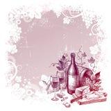 Priorità bassa con dell'annata del vino vita ancora Fotografia Stock