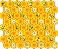 Priorità bassa con gli api ed il favo illustrazione di stock