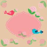 Priorità bassa con gli uccelli ed i fiori illustrazione di stock