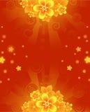 Priorità bassa con i fiori arancioni Fotografie Stock Libere da Diritti