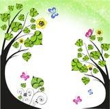 Priorità bassa con i fiori e le farfalle Fotografia Stock