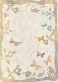 Priorità bassa con i fiori e le farfalle Fotografia Stock Libera da Diritti