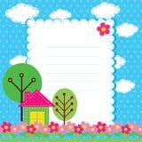 Priorità bassa con i fiori e una casa per chil Immagine Stock