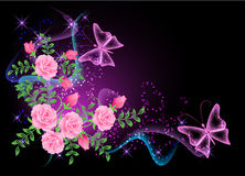Priorità bassa con i fiori, il fumo e la farfalla Fotografie Stock