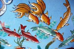 Priorità bassa con i pesci di koi Fotografie Stock
