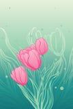 Priorità bassa con i tulipani Illustrazione Vettoriale