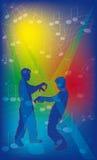 Priorità bassa con il dancing e le note della gente. Immagini Stock