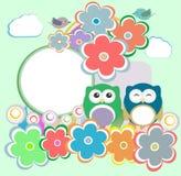 Priorità bassa con il gufo, i fiori e gli uccelli illustrazione vettoriale