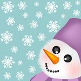 Priorità bassa con il pupazzo di neve Fotografia Stock
