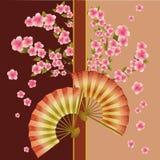 Priorità bassa con il ventilatore ed il fiore di sakura Fotografia Stock Libera da Diritti