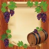 Priorità bassa con l'uva, il barilotto di legno ed il documento Immagine Stock