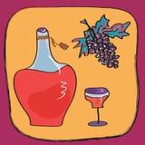 Priorità bassa con la bottiglia di vino Immagini Stock