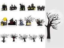 Priorità bassa con la casa di Halloween, albero Fotografia Stock