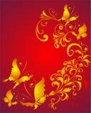 Priorità bassa con la farfalla e l'ornamento floreale Fotografia Stock Libera da Diritti