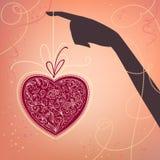 Priorità bassa con la mano ed il cuore Fotografia Stock Libera da Diritti
