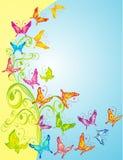 Priorità bassa con le farfalle, decorato floreale, vettore