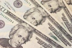 Priorità bassa con le fatture del dollaro US Dei soldi (20$) Immagini Stock Libere da Diritti