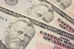 Priorità bassa con le fatture del dollaro US Dei soldi (50$) Immagini Stock