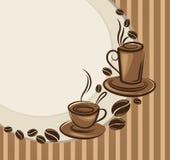 Priorità bassa con le immagini delle tazze di caffè Fotografia Stock Libera da Diritti