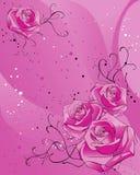 Priorità bassa con le rose dentellare illustrazione di stock