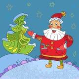 Priorità bassa con Santa divertente Immagine Stock