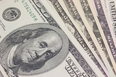 Priorità bassa con soldi Stati Uniti 100 fatture del dollaro Fotografia Stock