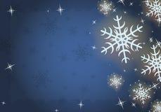 Priorità bassa congelata inverno con i fiocchi di neve, vettore. Fotografie Stock