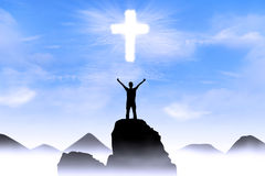 Priorità bassa cristiana: Dio d'adorazione dell'uomo immagine stock