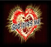 Priorità bassa cristiana Dio mi ama Cuore di semitono Jesus lo ama fotografia stock