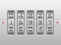 Priorità bassa d'argento della serratura di combinazione di numero Immagine Stock