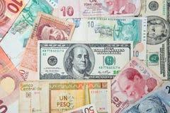 Priorità bassa da soldi di carta dei paesi differenti Fotografia Stock