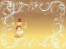 Priorità bassa decorata con il pupazzo di neve Immagini Stock