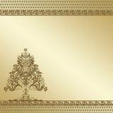 Priorità bassa decorata dell'albero dorato Fotografie Stock