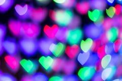 Priorità bassa Defocused degli indicatori luminosi Bokeh del cuore Fotografia Stock Libera da Diritti
