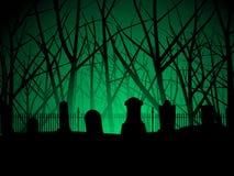 Priorità bassa degli alberi e del cimitero Immagine Stock Libera da Diritti