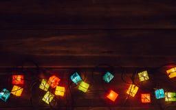 Priorità bassa degli indicatori luminosi di natale Buon Natale & x28; xmas& x29; e Ne felice Fotografia Stock Libera da Diritti