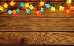 Priorità bassa degli indicatori luminosi di natale Buon Natale & x28; xmas& x29; e Ne felice Immagini Stock Libere da Diritti