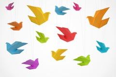 Priorità bassa degli uccelli di Origami Fotografia Stock