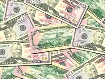 Priorità bassa dei dollari degli S.U.A. del mucchio 50 dei soldi Fotografia Stock