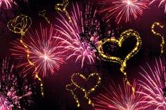 Priorità bassa dei fuochi d'artificio del cuore illustrazione vettoriale
