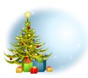Priorità bassa dei regali dell'albero di Natale Immagini Stock Libere da Diritti