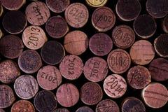 Priorità bassa dei sugheri usati del vino Fotografie Stock Libere da Diritti