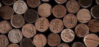Priorità bassa dei sugheri usati del vino Fotografia Stock