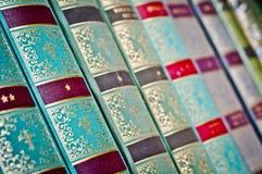 Priorità bassa dei vecchi libri Vecchi libri in una riga Fotografia Stock
