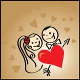 Priorità bassa del biglietto di S. Valentino con cuore royalty illustrazione gratis