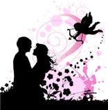 Priorità bassa del biglietto di S. Valentino con il cupid e coppie in lo Fotografia Stock Libera da Diritti