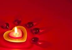 Priorità bassa del biglietto di S. Valentino con la candela Fotografia Stock Libera da Diritti