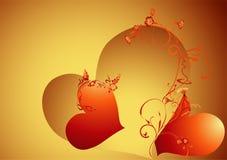 Priorità bassa del biglietto di S. Valentino dell'oro Fotografie Stock Libere da Diritti