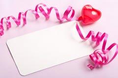 Priorità bassa del biglietto di S. Valentino della scheda in bianco Immagini Stock
