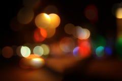 Priorità bassa del bokeh della città di notte Fotografie Stock Libere da Diritti